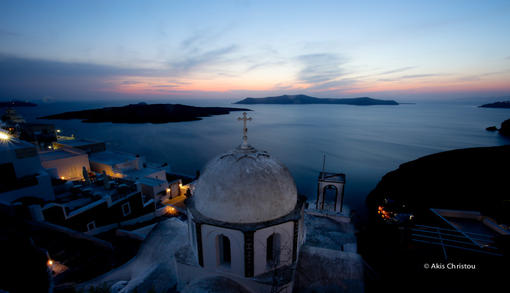 Santorini magic, twilight zone, excellent colors in Fira Santorini