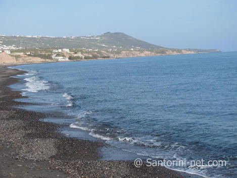 A not very crowded beach with great fish taverns - Monolithos beach Santorini