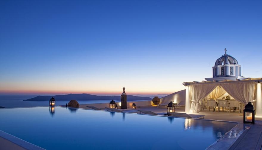 Infinity pool after sunset
