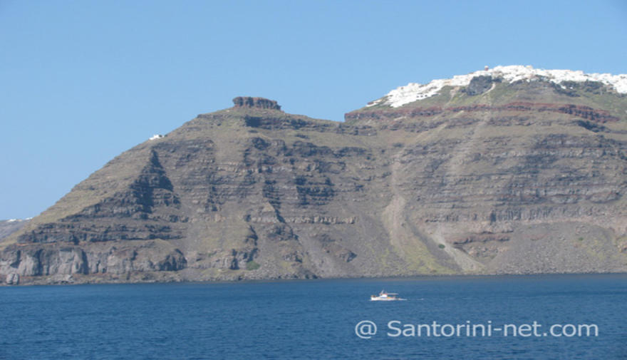 Skaros rock and Imerovigli village as seen from the ferry to Athinios port.