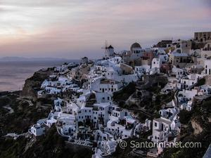A classic view of Oia village after the famous sundown